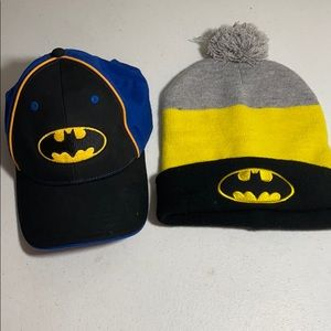Batman baseball cap and knit winter hat